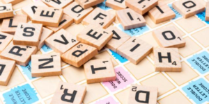 Wooden squares with letters
