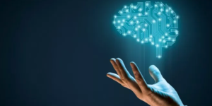 Male hand levitating an animated brain made out of lit-up circuits